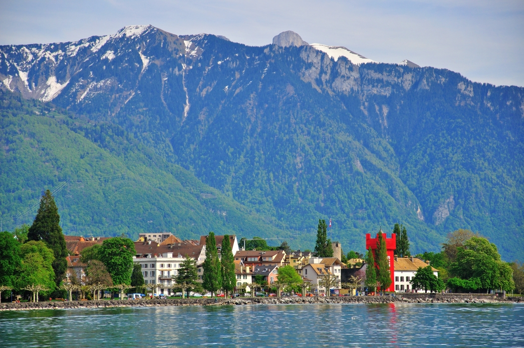 Panorama of Vevey, Switzerland