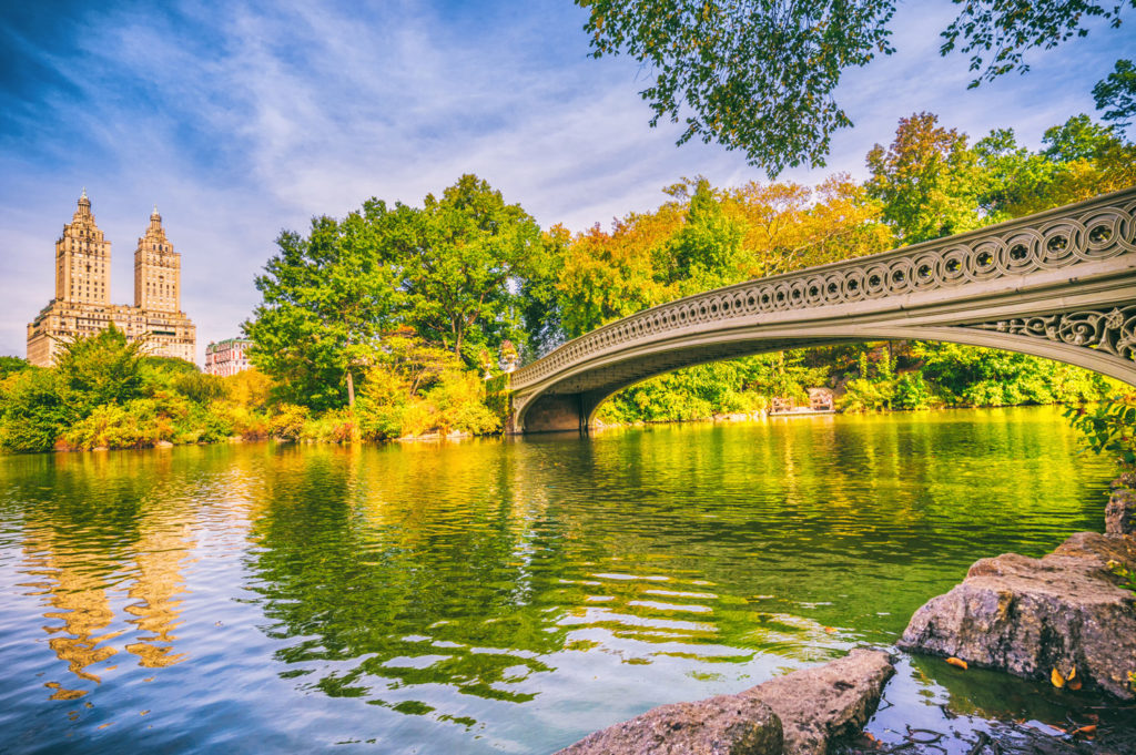 bow bridge in Central Park at Autumn New York Manhattan